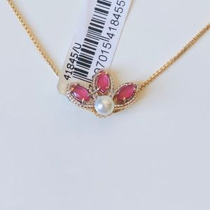 Jewelry - Pink pendant 18k gold plated